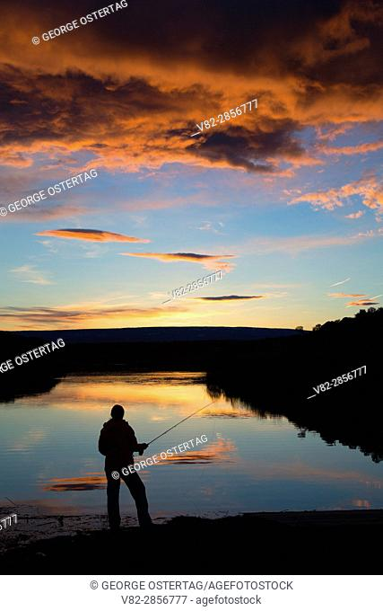 Burke Lake fisherman sunset, Quincy Lakes Unit - Desert Basin Wildlife Area, Washington