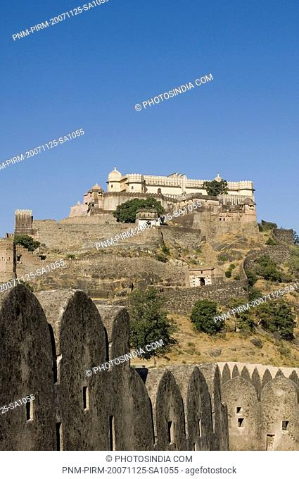Low angle view of a fort, Kumbhalgarh Fort, Rajsamand District, Rajasthan, India