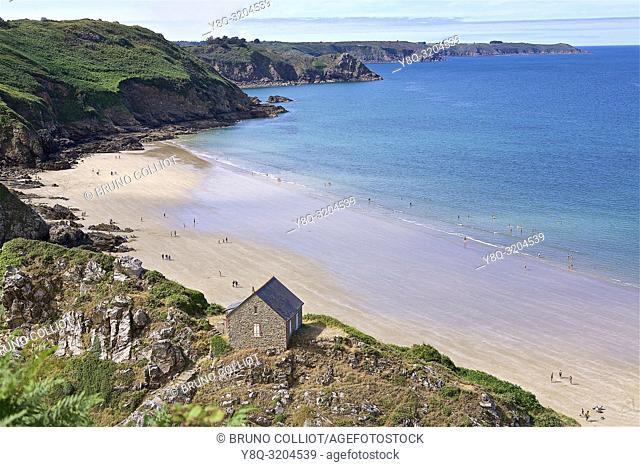 Pointe de Plouha, Bonaparte beach, cliffs and customs house. Cote d'Armor, Brittany, France