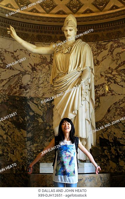 France, Paris, Louvre Museum, Marble Statue, Athena, Pallas of Velletri, First century Roman copy, Asian Woman