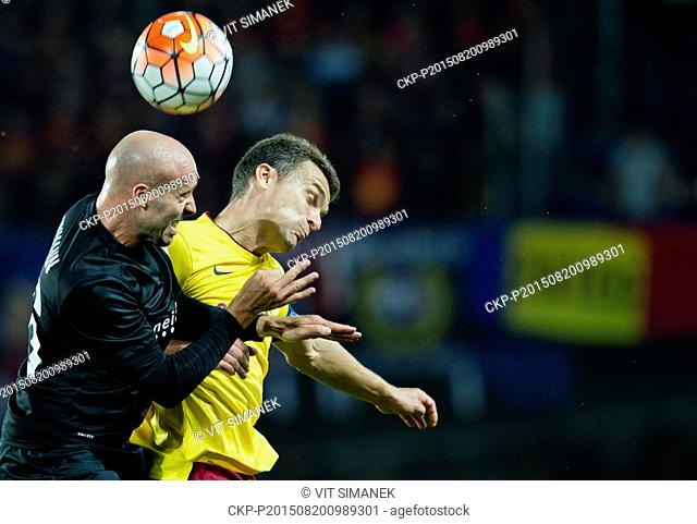 David Lafata from Sparta, right, and Thomas Reinmann from Thun in action during the fourth qualifying round of the UEFA Europa League match AC Sparta Praha vs...