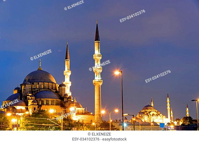 The New Mosque and the Suleymaniye Mosque in Istanbul at night