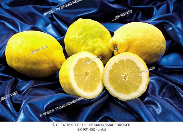 Lemons on blue fabric