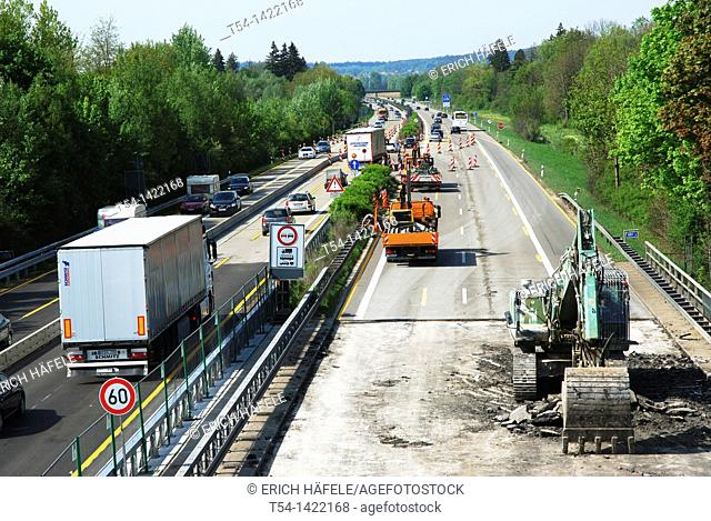 Excavators at work on a highway construction site