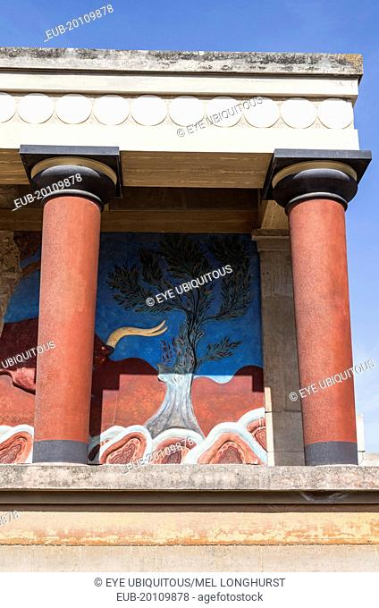The north entrance, depicting the charging bull fresco, Knossos Palace