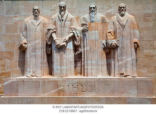 John Calvin, William Farel, Theodore, Debeze, and John Knox on the Reformation Wall, Geneva, Switzerland