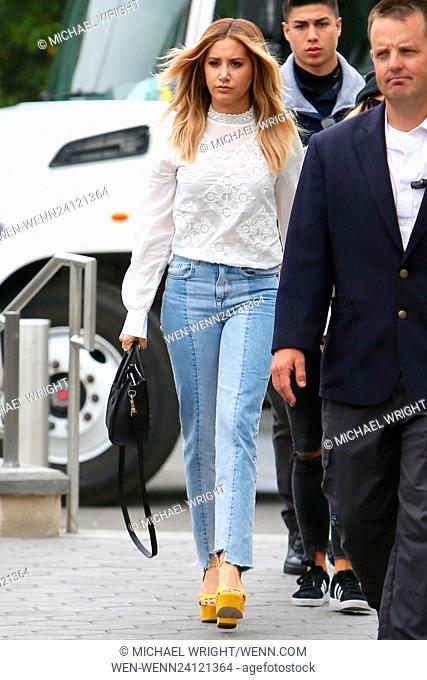 Ashley Tisdale seen at Universal Studios where she was interviewed by Mario Lopez for television show Extra Featuring: Ashley Tisdale Where: Los Angeles