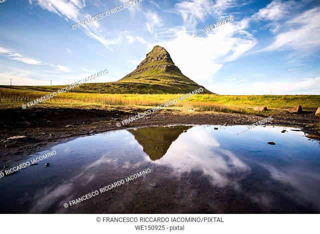 Kirkjufell Mount reflecting on water, Iceland