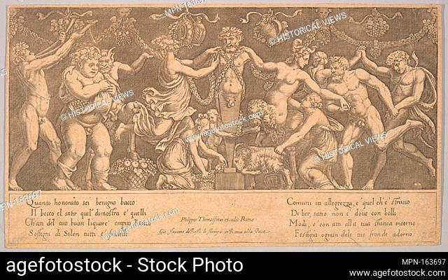 The sacrifice to Priapus who is in the form of a statue in the centre, Bacchus and a satyr at the left. Artist: Master of the Die (Italian, active Rome, ca