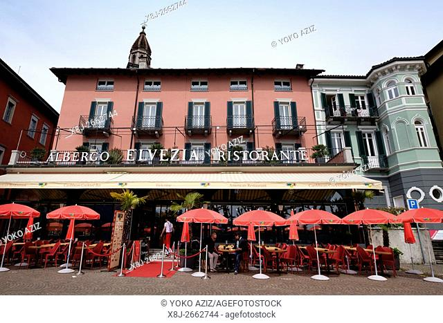 Switzerland, Canton Ticino, Ascona, Albergo Elvezia ristorante