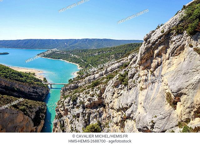 France, Alpes de Haute-Provence, regional natural reserve of Verdon, Grand Canyon of Verdon, the lake of Sainte-Croix