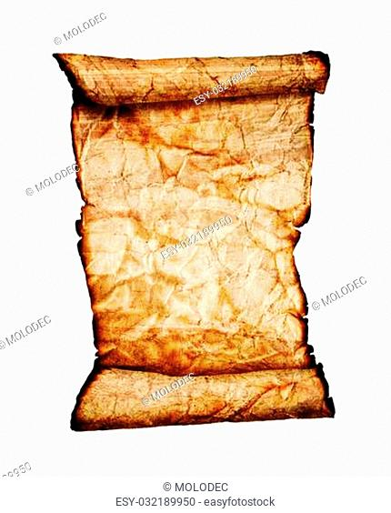old burnt scroll on white background