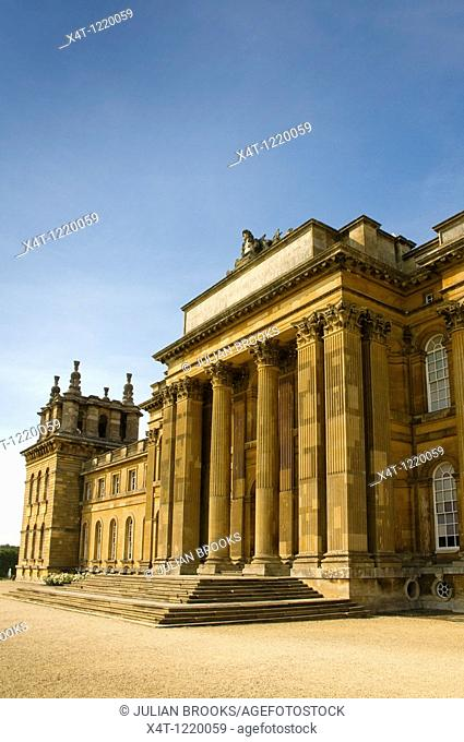 The South facade of Blenheim Palace in autumn sunshine  Steps and main doorway