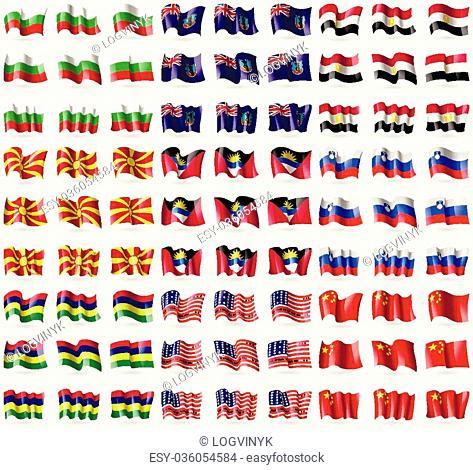Bulgaria, Montserrat, Egypt, Republic of Macedonia, Antigua and Barbuda, Slovenia, Mauritius, Bikini Atoll, China. Big set of 81 flags