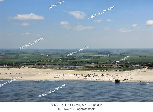 Aerial view, beach, stilted buildings of the North Sea resort and spa St. Peter-Ording, North Friesland, Schleswig-Holstein, Germany, Europe