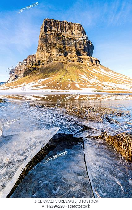 Lomagnupur mountain in winter, Iceland