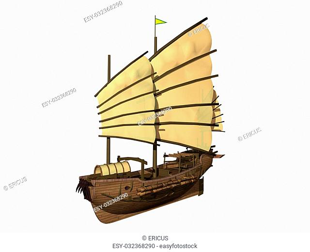 Computer image, boat junk 3D, isolated white background