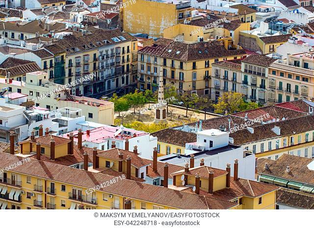 Plaza de Merced (Merced square) in Malaga, Andalucia, Spain. View from Gibralfaro castle