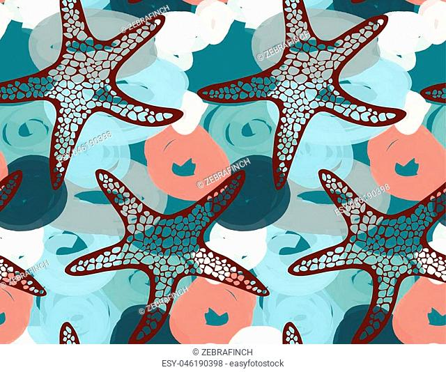 Sea star on red and green marker dawn bubbles.Hand drawn seamless pattern. Nature textile design. Ocean fabric collection