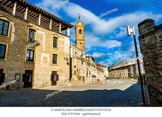 Traditional architecture in Old Town. Vitoria-Gasteiz, Álava, Basque Country, Spain, Europe