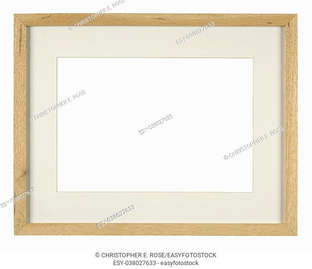 Empty picture frame, light oak wood with mount