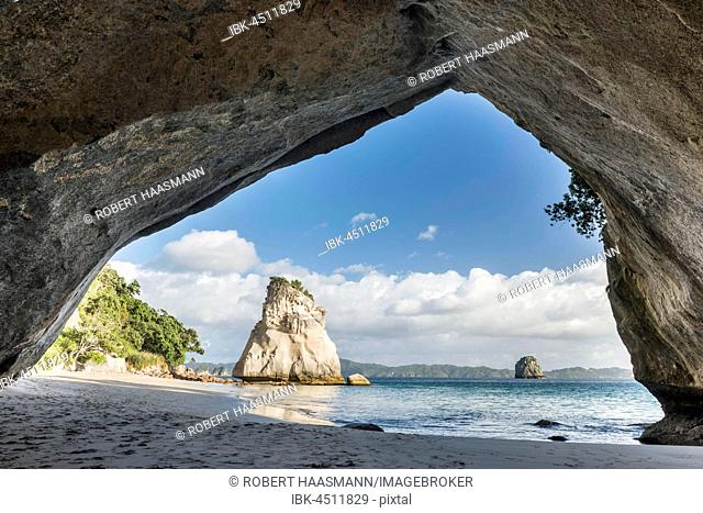 View from Cave Cathedral Cave, Cathedral Cove, Mercury Bay, Coromandel Peninsula, North Island, New Zealand
