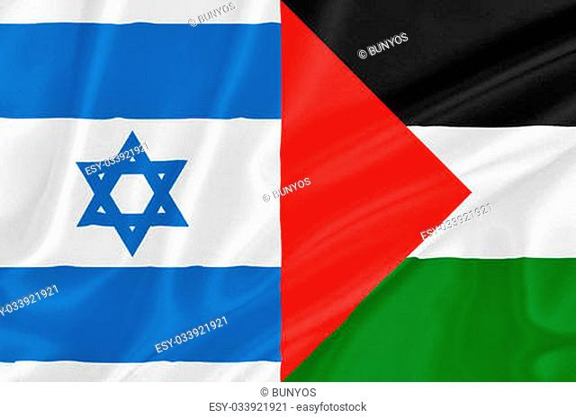 Flag of Israel with flag of Palestine waving with highly detailed textile texture pattern