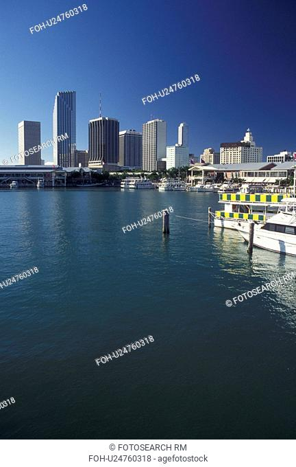 Biscayne Bay, Miami, FL, Florida, Atlantic Ocean, Bayside Marketplace, a shopping, dining, entertainment mecca, on Biscayne Bay and skyline of downtown Miami