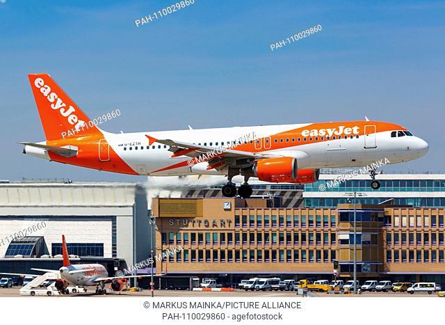 Stuttgart, Germany - May 21, 2018: EasyJet Airbus A320 airplane at Stuttgart airport in Germany. | usage worldwide. - Stuttgart/Germany