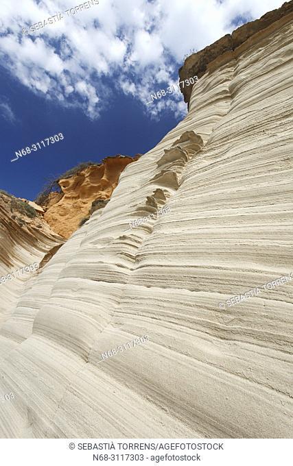 Eroded rocks, coast of Santanyi, Majorca, Balearic Islands, Spain