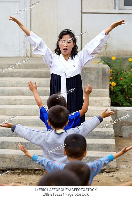North Korean Kids Making Gymnastics In A School, Hamhung, North Korea