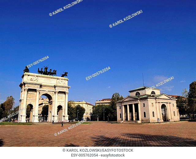 Milano - famous monument The Arch of Peace in Milan, Lombardy, Italy