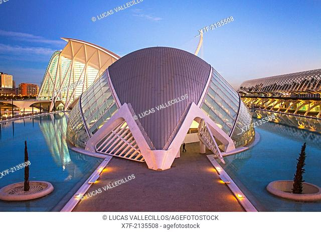 Museu de les Ciencies Principe Felipe and l'Hemisferic, in City of Arts and Sciences. Valencia, Spain