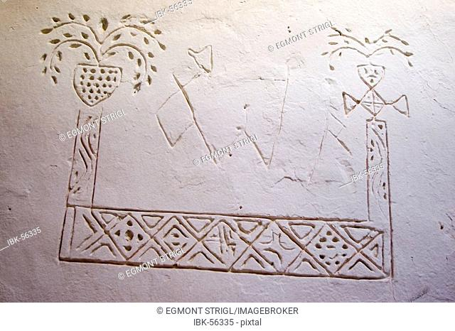 Touareg symbols on a wall, Ghadames, Ghadamis, Unesco world heritage site, Libya