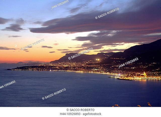 France, Europe, Alpes Maritimes, Menton, Riviera, town, city, lights, Cap Martin, at night, evening, Cap Ferrat, Monaco