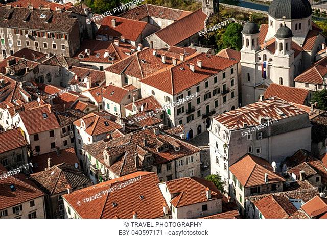 old town traditional architecture houses view of kotor in montenegro