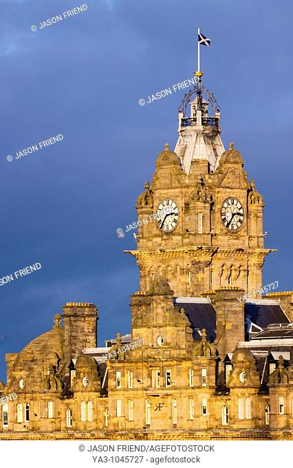 Scotland, Edinburgh, Balmoral Hotel  Balmoral Hotel clock tower, often referred to as the most photographed clock tower in Scotland