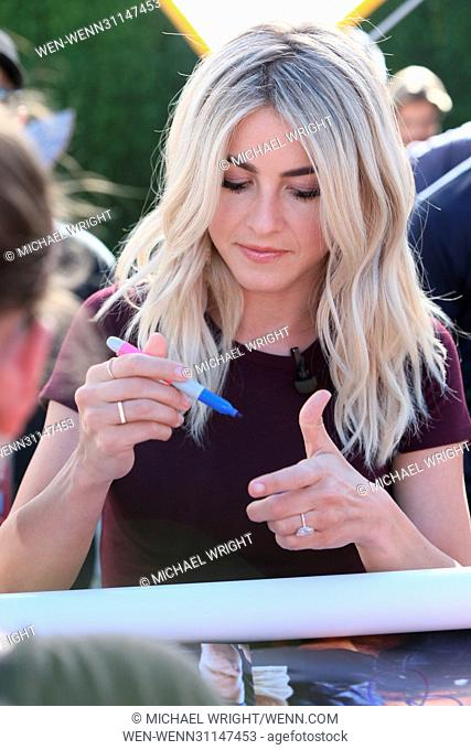 Julianne Hough and Derek Hough seen at Universal Studios where they interviewed with Mario Lopez for the television show 'Extra' Featuring: Julianne Hough...
