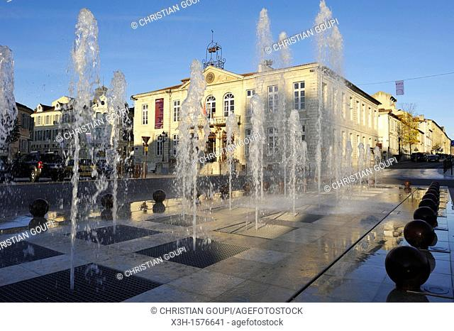 fountain on the Liberation Square with the City Hall background Auch Gers department, Midi-Pyrenees, southwest of France, Europe