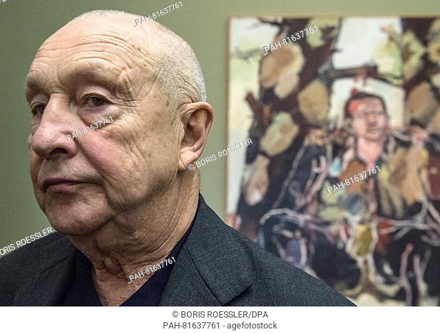 German artist Georg Baselitz seen in front of his work 'The new guy' in the exhibition 'Georg Baselitz. The Heroes' at the Staedel art museum in Frankfurt am...