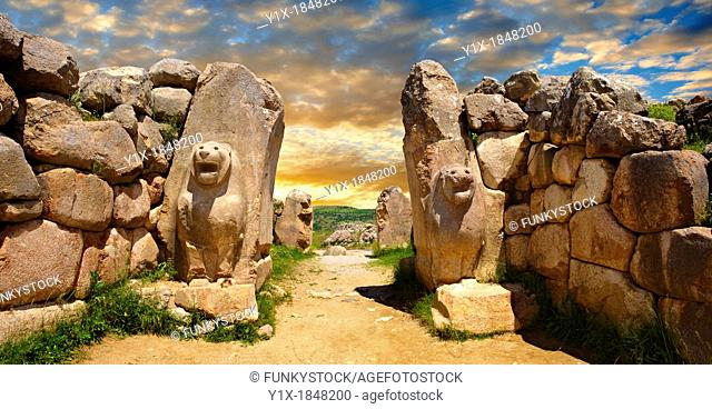 Photo of the Hittite releif sculpture on the Lion gate to the Hittite capital Hattusa 14