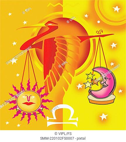 Libra, astrological sign with scale and bird