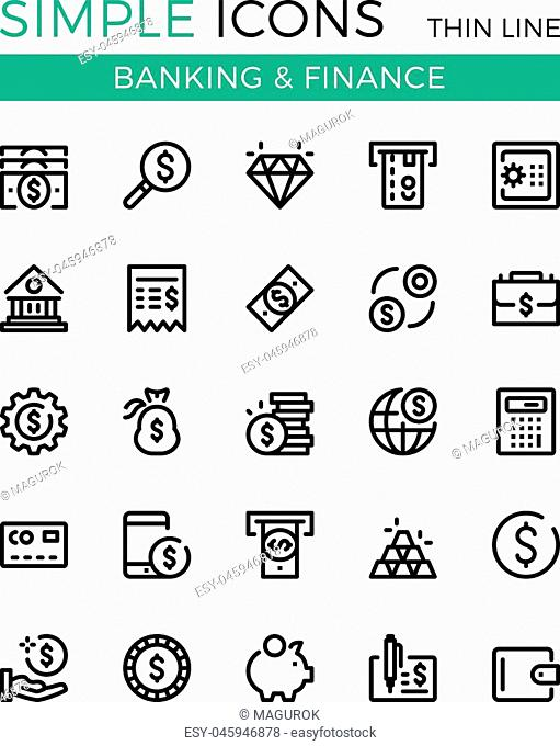Money, business, banking, finance vector thin line icons set. 32x32 px. Modern line graphic design concepts for websites, web design, mobile app, infographics