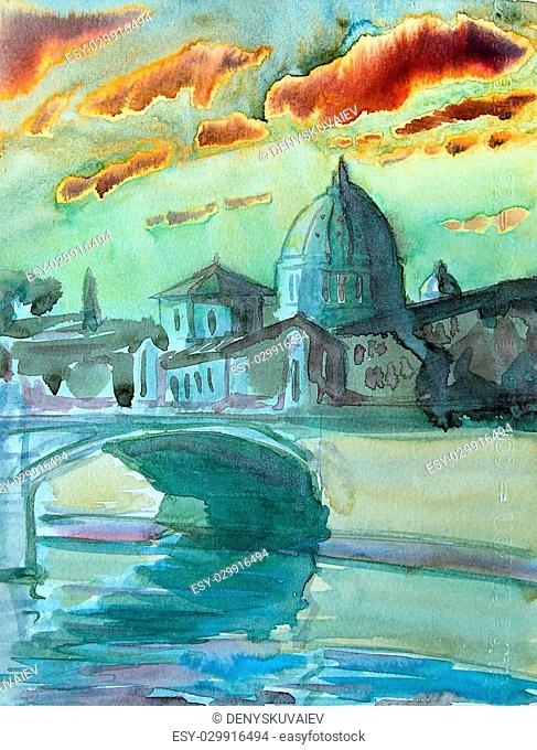 Basilica Sant Pietro, Tiber river and Ponte Vittorio Emanuele, Vatican, Rome, Italy