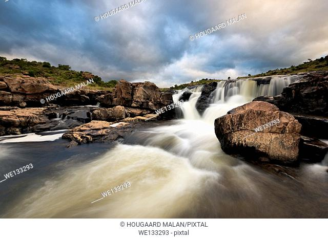 Landscape photo of a waterfall at Bourke's luck potholes in the Blyde River. Panorama route, Mpumalanga, South Africa