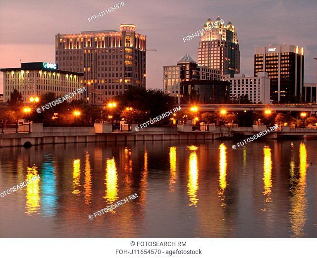 Orlando, FL, Florida, Downtown skyline, Lake Lucerne, evening