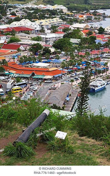 View of Marigot City from Fort St. Louis, St. Martin Island, French Antilles, West Indies, Caribbean, Central America