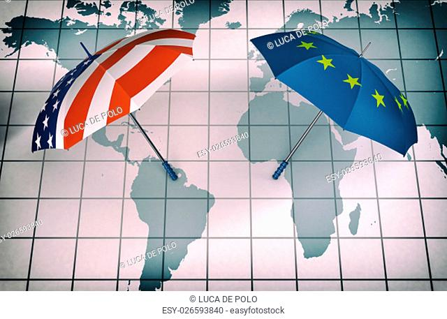 two umbrellas made with the Europe and the Usa flag, above a world map, concept of world security and cooperation (3d render) - Elements of this image furnished...