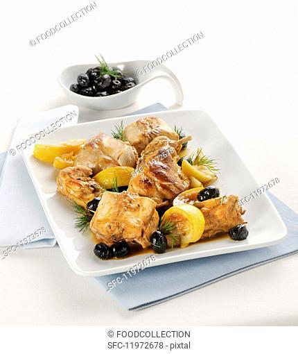 Saddle of rabbit in a lemon marinade with olives