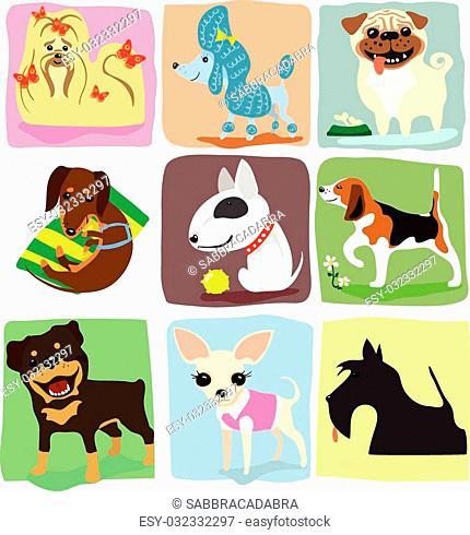 nine different dog breeds set. vector drawing illustration